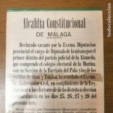 Militaria: MALAGA, CARTEL, CONVOCATORIA ELECCIONES- AÑO 1880, MIDE: 40 X 32 C.M. VER FO. Lote 294163738