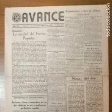 Militaria: ALICANTE.- AVANCE,- AÑO III.- Nº 381.- 17 FEBRERO 1939,- VER FOTOS. Lote 294165488