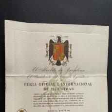 Militaria: INVITACIÓN DE LA FERIA OFICIAL INTERNACIONAL DE MUESTRAS - AÑO 1946 (BARCELONA). Lote 294166628