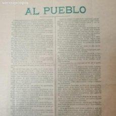 Militaria: MALAGA,- AL PUEBLO- CONJUNCION REPUBLICANO-SOCIALISTA.-RAFAEL MANIN TORNER0-MIDE:44 X 32 C.M. VER. Lote 294493973