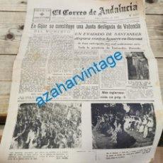 Militaria: EL CORREO DE ANDALUCIA, GUERRA CIVIL, 28-08-1937,FRENTE DE ARAGON, SECTOR ZUERA, SANTANDER.ETC... Lote 295516628