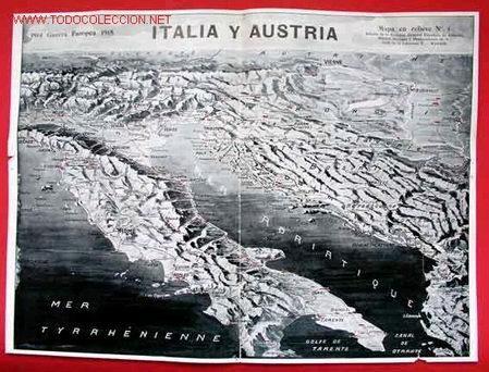 MAPA ITALIA Y AUSTRIA (Militar - I Guerra Mundial)