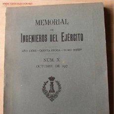 Militaria: MEMORIAL DE INGENIEROS DEL EJERCITO, AÑO LXXII, 1917, Nº X . Lote 7204121