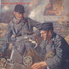 Militaria: I GUERRA MUNDIAL BONITA LÁMINA DE ÉPOCA SOLDADOS CON AMETRALLADORA ))). Lote 27165725
