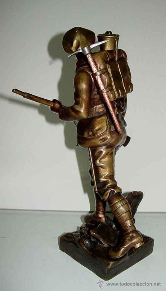 Militaria: ANTIGUA ESCULTURA EN BRONCE DE SOLDADO FRANCES DE LA I GUERRA MUNDIAL - FIRMADA POR E. CARLIER - EXC - Foto 5 - 26563405