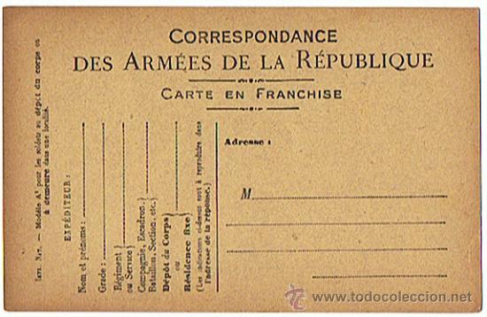 POSTAL - DOCUMENTO MILITAR DE ÉPOCA, I GUERRA MUNDIAL, SIN CIRCULAL, REPUBLICA FRANCESA (Militar - I Guerra Mundial)