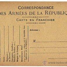 Militaria: POSTAL - DOCUMENTO MILITAR DE ÉPOCA, I GUERRA MUNDIAL, SIN CIRCULAL, REPUBLICA FRANCESA. Lote 26913022