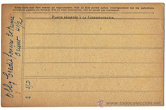 Militaria: Postal - Documento Militar de época, I Guerra Mundial, sin circulal, Republica Francesa - Foto 2 - 26913022