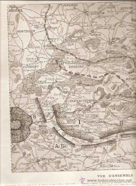 133. (L,ILLUSTRATION 11-9-1915) MAPA DE LA BATALLA DEL MARNE (Militar - I Guerra Mundial)