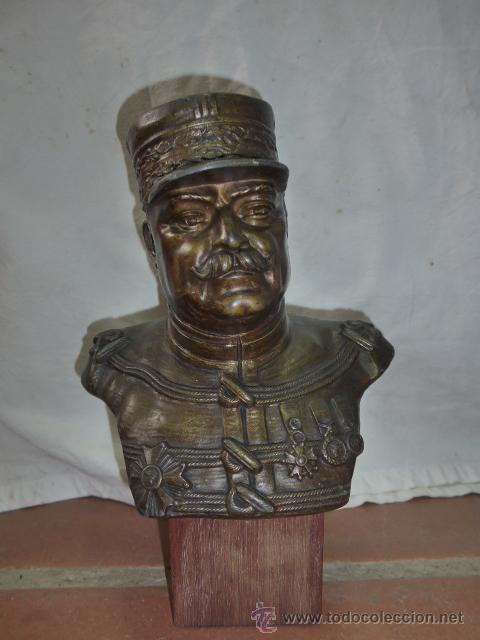 ANTIGUO Y GRAN BUSTO D BRONCE DE MARISCAL JOFFRE, VOLUNTARIOS CATALANES EN LA PRIMERA GUERRA MUNDIAL (Militar - I Guerra Mundial)