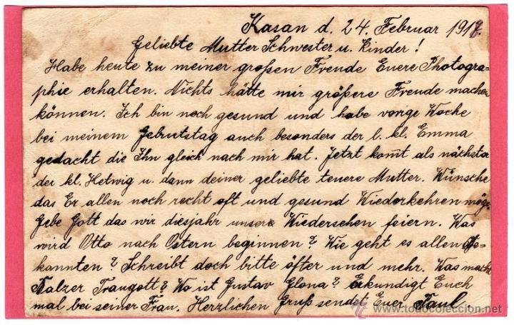 Militaria: Tarjeta Entero Postal Correspondencia Prisioneros de Guerra, Kasan Rusia 1918 Primera Guerra Mundial - Foto 2 - 44058427