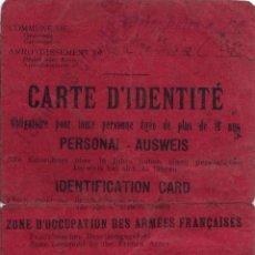 Militaria: DNI CARTA DE IDENTIDAD, ZONA OCUPADA 1924 WWI. Lote 46216131