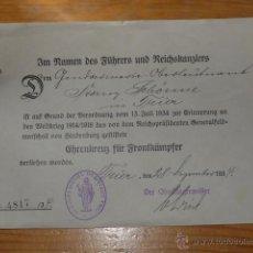 Militaria: ANTIGUA CONCESION DE MEDALLA ALEMANA ORIGINAL, 1934, PRIMERA GUERRA MUNDIAL. Lote 48408288