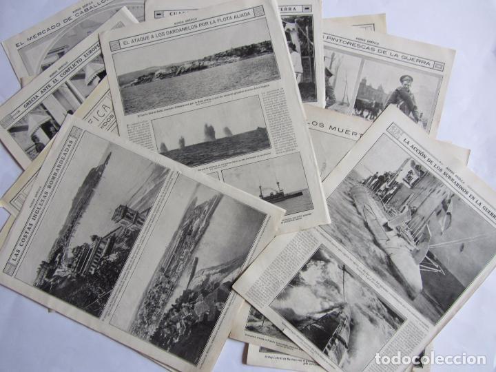 LOTE DE 20 PÁGINAS DE MUNDO GRAFICO 1915 I GUERRA MUNDIAL. FOTOGRAFIAS. MUY INTERESANTE. (Militar - I Guerra Mundial)
