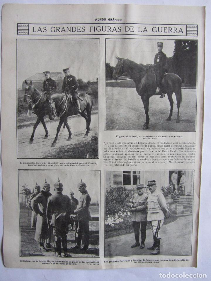 Militaria: Lote de 20 páginas de Mundo Grafico 1915 I Guerra Mundial. Fotografias. Muy Interesante. - Foto 2 - 64928739