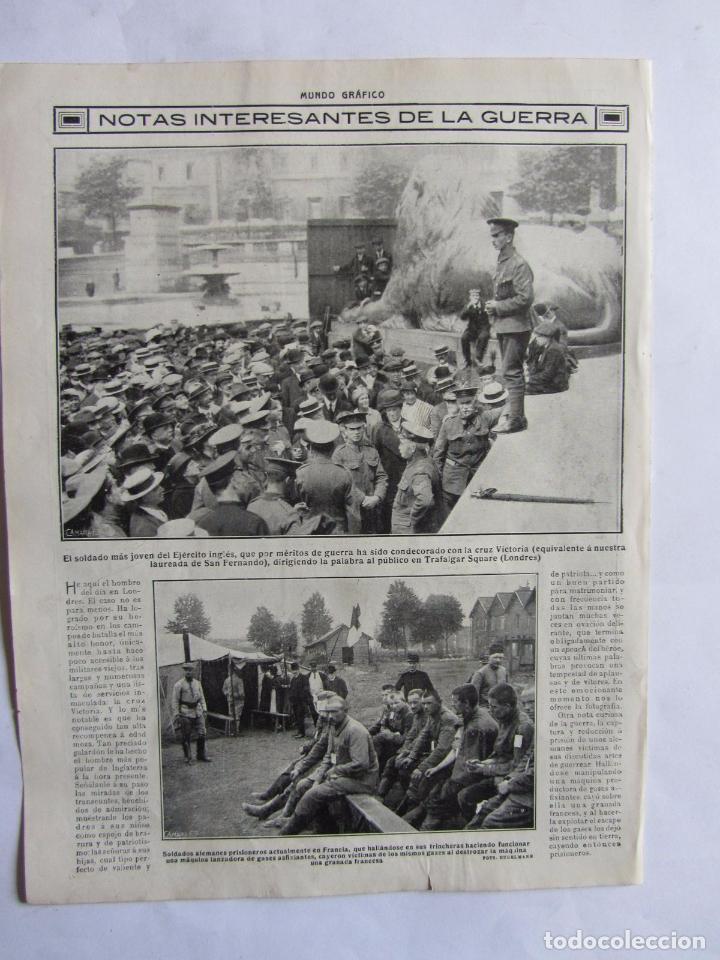 Militaria: Lote de 20 páginas de Mundo Grafico 1915 I Guerra Mundial. Fotografias. Muy Interesante. - Foto 6 - 64928739