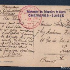 Militaria: POSTAL, CAMPO DE PRISIONEROS -CHESIERES-SUISSE- 9-JULIO-1916, VER FOTOS. Lote 78548561