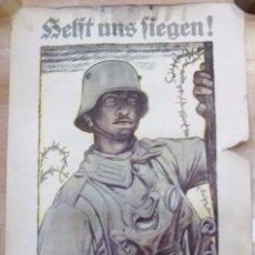 Militaria: CARTEL DE CARTÓN RARO ORIGINAL 1917 WWI, HEFT UNS FIEGEN ZEICHNET DIE KRIEGSANLEIHE!,POR FRITZ ERLER. Lote 102344303
