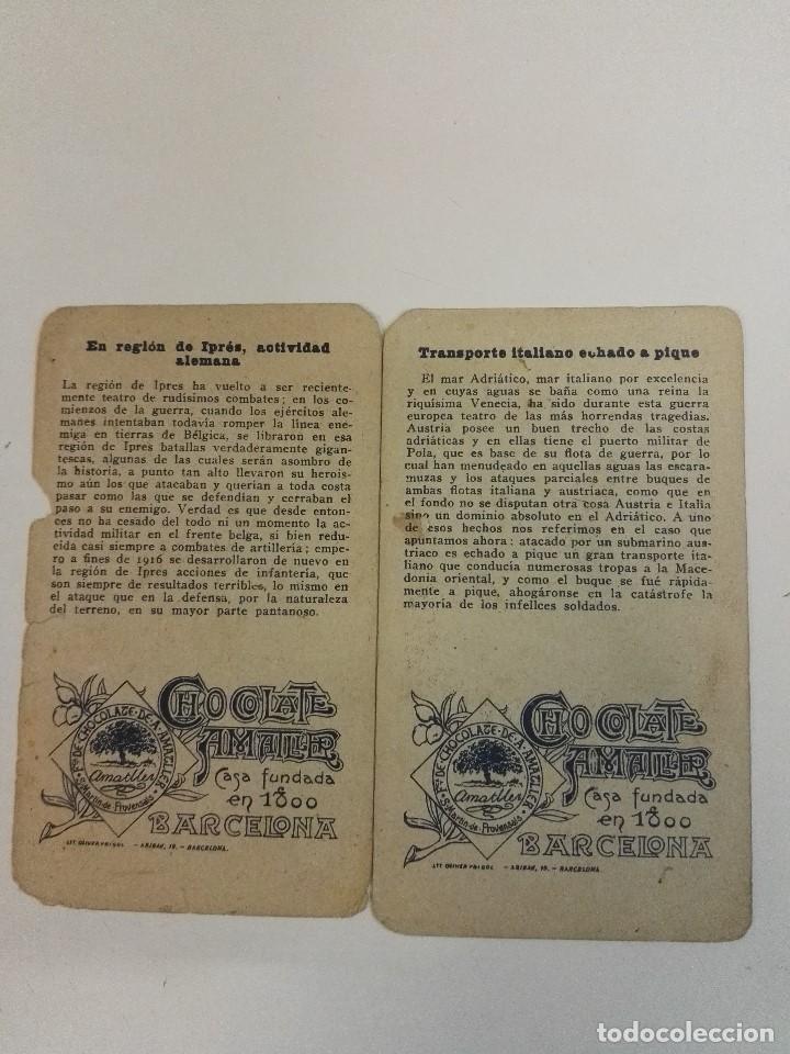 Militaria: 2 cromos de la Gurra Europea de Chocolate amatller serie 13. Primera Guerra mundial - Foto 2 - 107759327