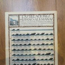 Militaria: CARTEL 1918. LAS RELACIONES HISPANO-ALEMANAS DURANTE LA I PRIMERA GUERRA MUNDIAL. 80 X 56 CM. Lote 129429815