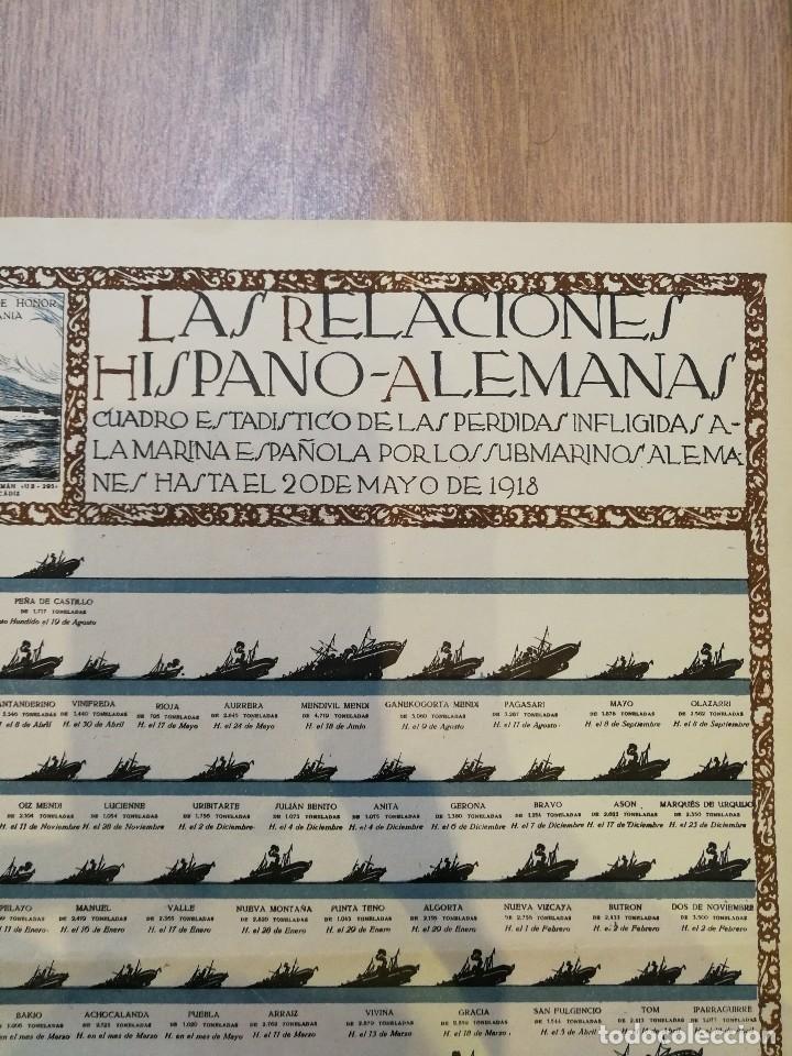 Militaria: CARTEL 1918. LAS RELACIONES HISPANO-ALEMANAS DURANTE LA I PRIMERA GUERRA MUNDIAL. 80 x 56 CM - Foto 2 - 129429815