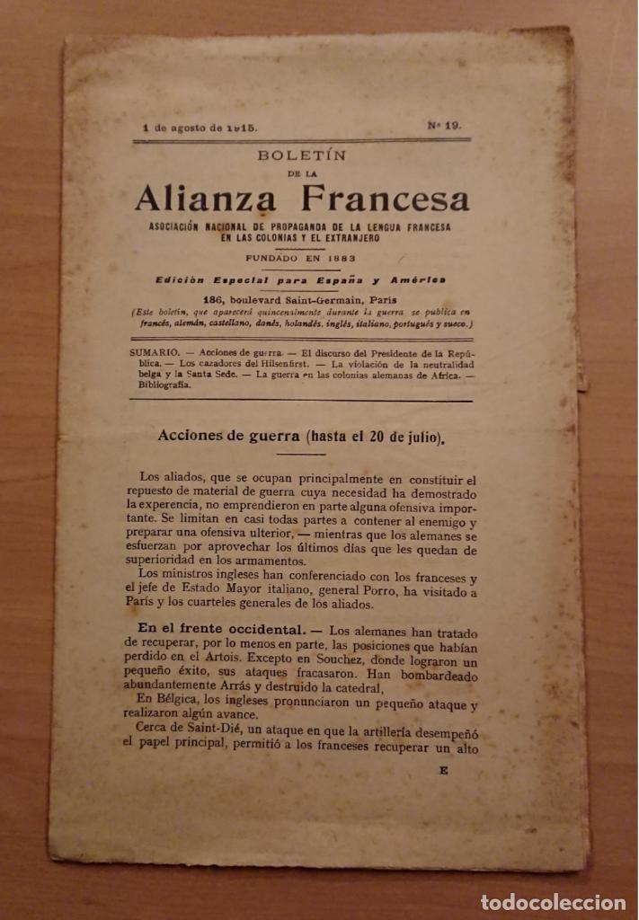 BOLETÍN DE LA ALIANZA FRANCESA 1915, ASOCIACIÓN NACIONAL DE PROPAGANDA DE LA LENGUA FRANCESA (Militar - I Guerra Mundial)