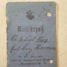 Militaria: CARTILLA MILITAR ALEMANA 1ª GUERRA MUNDIAL . MILITARPASS . INFANTERIE-REGIMENT GRAF DÖNHOFF 44. Lote 128778571