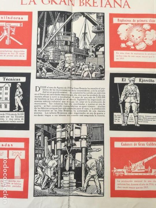 Militaria: CARTEL DE LA GUERRA DE MUNICIONES (1914-1918 GRAN BRETAÑA).I PRIMERA GUERRA MUNDIAL. 53.5 x 42.5 CM - Foto 6 - 129707247