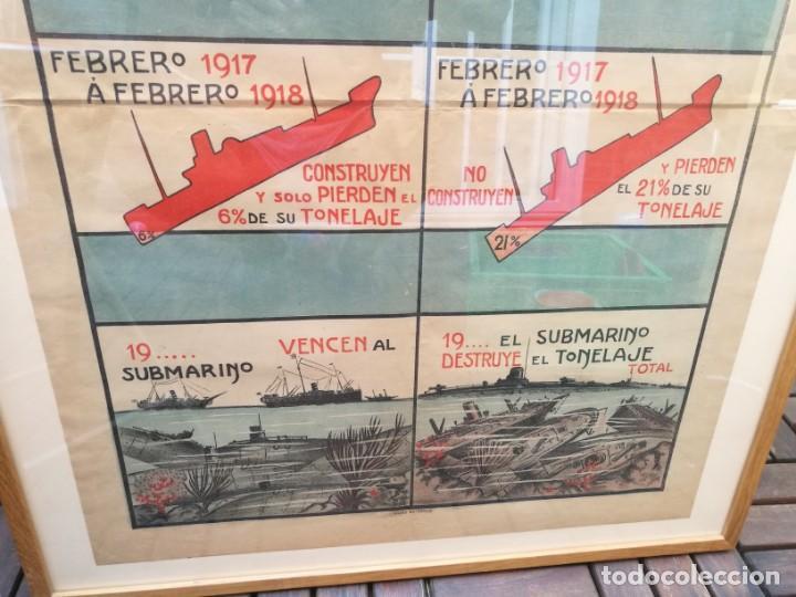 Militaria: CARTEL RESULTADO FINAL GUERRA SUBMARINA PARA LOS ALIADOS,ESPAÑOLES. I PRIMERA GUERRA MUNDIAL(1914-18 - Foto 3 - 129710507