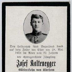 Militaria: ESQUELA SOLDADO ALEMÁN - 1916 - PRIMERA GUERRA MUNDIAL - I GM. Lote 150174190