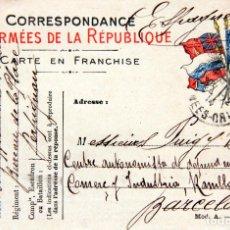 Militaria: M20 FRANCIA WWI-POSTAL CORRESPONDANCE DES ARMÉES DE LA RÉPUBLIQUE-CIRCULADA A BARCELONA, 1914. Lote 155544226