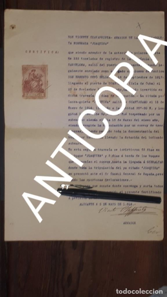 CERTIFICADO DE BARCO ESPAÑOL TORPEDEADO POR UN SUBMARINO ALEMÁN 1918 ALICANTE (Militar - I Guerra Mundial)