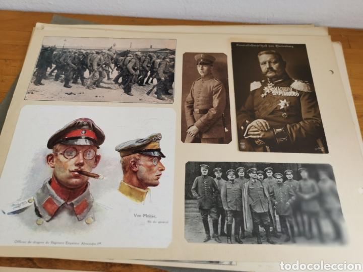 Militaria: 14 hojas de Álbum con recortes militares de Periódicos de la primera Guerra Mundial - Foto 4 - 176911850