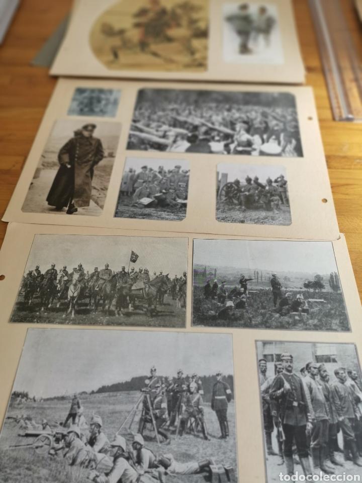 14 HOJAS DE ÁLBUM CON RECORTES MILITARES DE PERIÓDICOS DE LA PRIMERA GUERRA MUNDIAL (Militar - I Guerra Mundial)