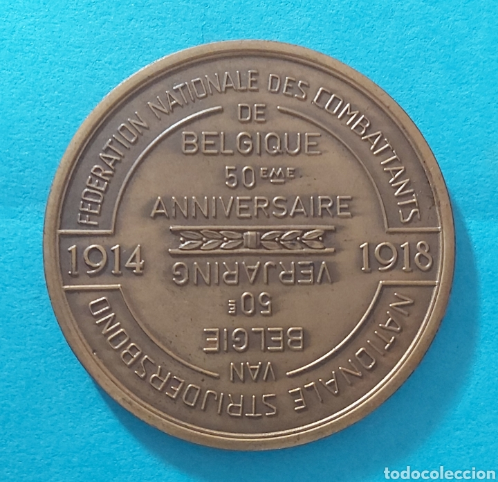 Militaria: MEDALLÓN 50 ANIVERSARIO PRIMERA GUERRA MUNDIAL. BELGICA FNC/NSB. FEDERACION NACIONAL DE COMBATIENTES - Foto 2 - 197565331