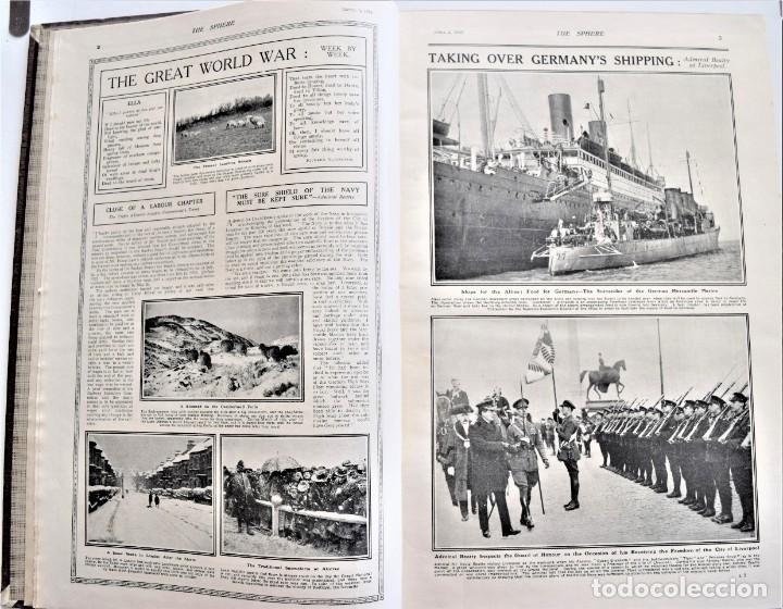 Militaria: THE SPHERE - TOMO CON LOS MESES DE ABRIL Y MAYO DE 1919 - 9 EJEMPLARES IMPECABLES INGLESES - Foto 5 - 204084285