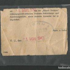 Militaria: CEDULA PERSONAL FECHADA EL 1 MARZO DE 1943 BLAUEN DIVISION DIVISION AZUL CON SELLO RUSIA ORIGINAL. Lote 210262008