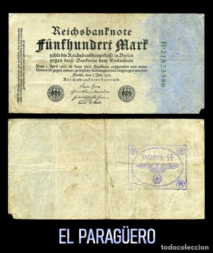 ALEMANIA BILLETE CLASICO ORIGINAL 500 MARKOS DE 1922 CON SELLO VIOLETA ESVASTICA DE LA ALEMANIA NAZI (Militar - I Guerra Mundial)