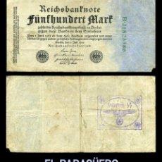 Militaria: ALEMANIA BILLETE CLASICO ORIGINAL 500 MARKOS DE 1922 CON SELLO VIOLETA ESVASTICA DE LA ALEMANIA NAZI. Lote 214560525