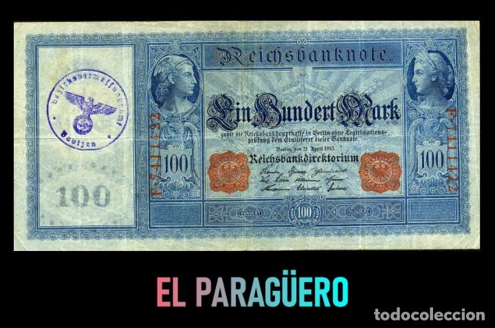 ALEMANIA BILLETE CLASICO 100 MARKOS DE 1910 CON SELLO VIOLETA ESVASTICA DE LA ALEMANIA NAZI (Militar - I Guerra Mundial)