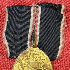 Militaria: I GUERRA MUNDIAL ALEMAN 1914-1918 MEDALLA Y CINTA - BLANK DIE WEHT REIN DIE EHT' FUR TREU. Lote 218137355