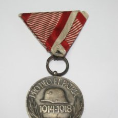 Militaria: 39,, MEDALLA HUNGRIA CONMEMORATIVA I GUERRA MUNDIAL, PRO DEO ET PATRIA 1914-1918 PLATEADA. Lote 218154135