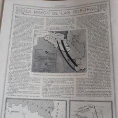 Militaria: LA MAYOR DE LAS GUERRAS . ARTICULO DEL AÑO 1914 , DE LA 1° GUERRA MUNDIAL . HOJA. Lote 218296626