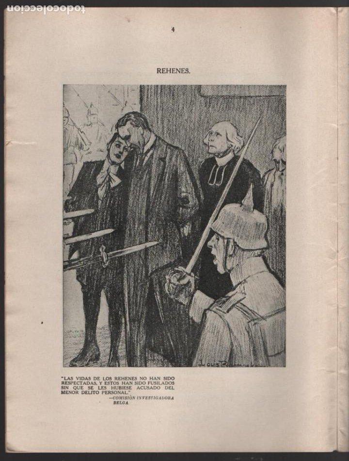 Militaria: CARTONES DE RAEMAEKERS, LAS ATRCIDADES ALEMANAS.- AÑO 1916, 39 PG. VER FOTOS - Foto 3 - 221760103