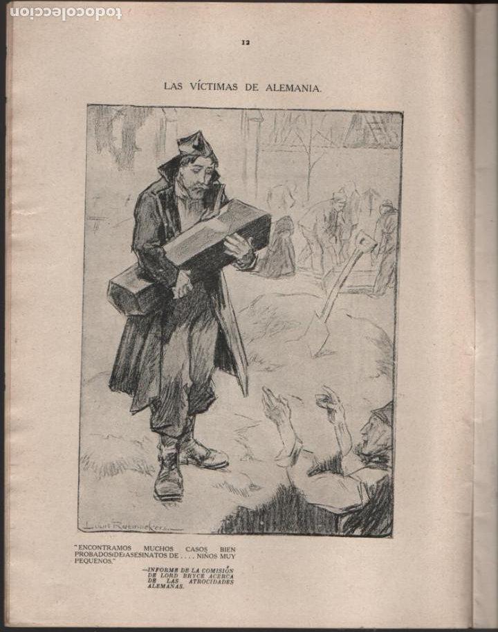 Militaria: CARTONES DE RAEMAEKERS, LAS ATRCIDADES ALEMANAS.- AÑO 1916, 39 PG. VER FOTOS - Foto 4 - 221760103