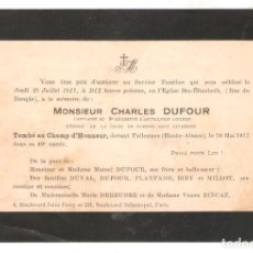 Militaria: RECORDATORIO DE CAIDO. TOMBÉ AU CHAMP D' HONEUR. MAYO 1917. FRANCIA. VELL I BELL.. Lote 221819717
