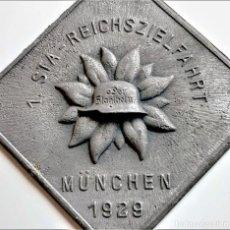 Militaria: 1929 WWI PLACA INSIGNIA 1 STA REICHSZIELFAHRT MÜNCHEN - 63.MM X 63.MM. Lote 245722645