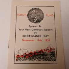 Militaria: HAIG, S FUND. REMEMBRANCE DAY, 11 NOV. 1937. CUADERNILLO. Lote 233941800