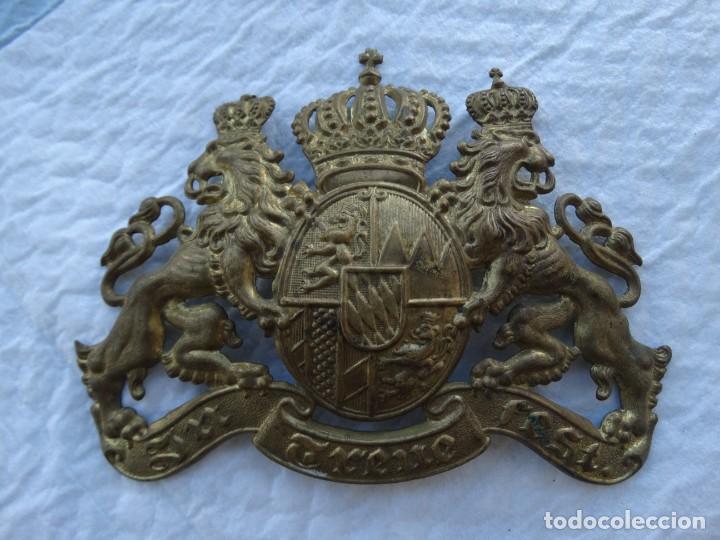 AUTENTICO EMBLEMA DE BAVIERA PARA PICKELHAUBE DE LA I GUERRA MUNDIAL (Militar - I Guerra Mundial)