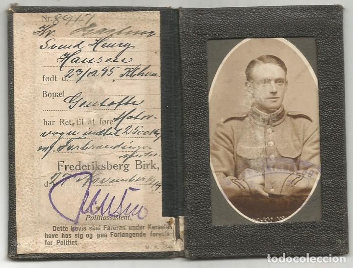 ANTIGUO CARNET DE CONDUCIR MILITAR DANES FOTO OFICIAL EJERCITO 1919 1ª GUERRA MUNDIAL FORERBEVIS (Militar - I Guerra Mundial)